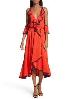 Milly Bryce Ruffle Stretch Silk Fit & Flare Dress