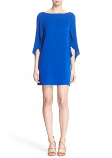 Milly Butterfly Sleeve Stretch Silk Crepe Minidress