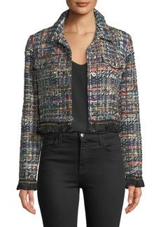 Milly Button-Front Cropped Multicolor Tweed Jacket w/ Fringe Hem