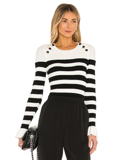 MILLY Button Shoulder Stripe Top