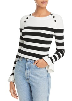 MILLY Button Shoulder Striped Rib Knit Sweater