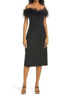 Milly Cady Feather Off the Shoulder Cocktail Dress