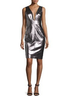 Milly Callie Metallic Leather Sheath Dress