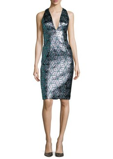 Milly Callie Sleeveless Jacquard Cocktail Dress
