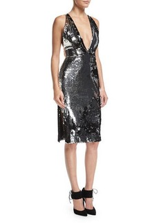 Milly Camilla Plunging Sequin Open-Back Cocktail Dress