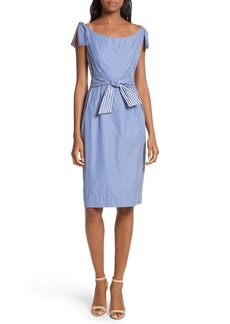 Milly Candice Stripe Shirting Tie Dress