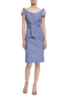 Milly Candice Striped Shirting Tie Dress