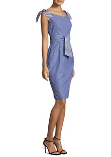 Milly Candice Tie Cotton Sheath Dress