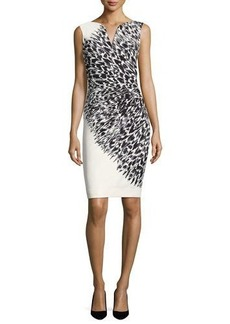 Milly Cady Brushstroke Feather-Print Sheath Dress