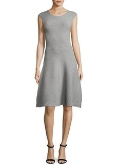 Milly Cap-Sleeve Geometric-Textured Fit-&-Flare Dress