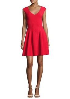 Milly Cap-Sleeve Textured Godet Dress