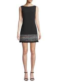Milly Carla Boat-Neck Sleeveless A-Line Crepe Dress w/ Tweed Hem