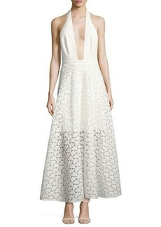 Milly Carlie Floral Halter Evening Gown