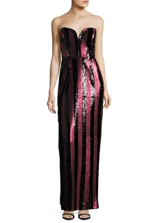Milly Carly Strapless Striped Sequin Column Gown