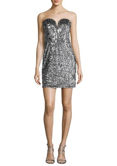 Milly Carly Sweetheart Sequin Cocktail Dress