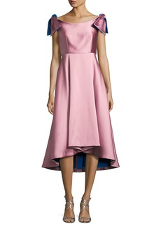 Milly Casey Sleeveless Satin Bateau Cocktail Dress