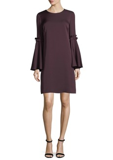 Milly Cassie Bell-Sleeve Stretch-Silk Shift Dress