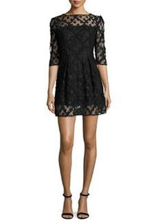 Milly Celia Bateau-Neck Half-Sleeve Embroidered Minidress