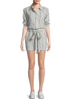 Milly Charlie Striped Linen-Blend Romper