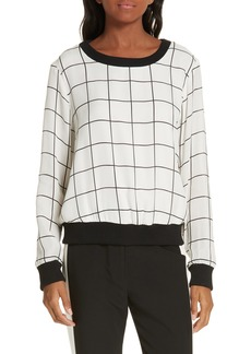 Milly Check Silk Top