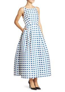 MILLY Checkered Crisscross Back Dress