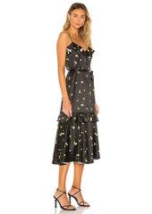 MILLY Cherry Print Stretch Satin Petal Dress