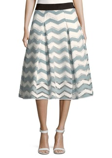 Milly Chevron Inverted Pleat Skirt