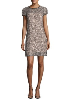 Milly Chloe Short-Sleeve Corded Lace Cocktail Dress