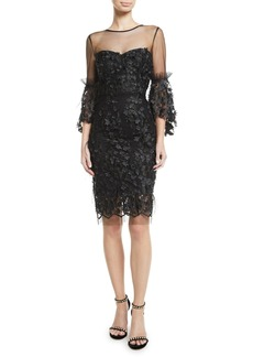 Milly Chrissy Embroidery & Feather Dress