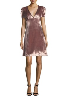 Milly Christine Puff-Sleeve Panne Velvet Dress