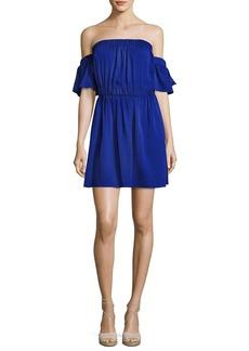 Milly Christy Off-the-Shoulder Stretch-Silk Dress