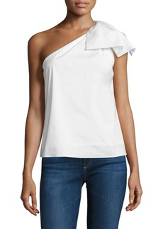 Milly Cindy Stretch Poplin One Shoulder Top
