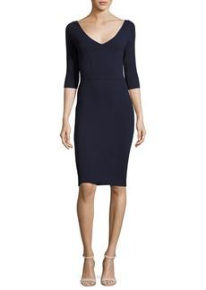 Milly Claire 3/4-Sleeve V-Neck Sheath Dress
