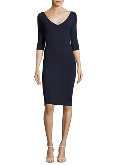 Milly Claire 3/4-Sleeve V-Neck Sheath Dress