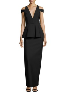 Milly Claudia Stretch Crepe Cold-Shoulder Peplum Gown