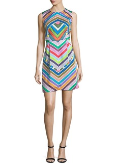 Milly Coco Rainbow Striped Twill Dress