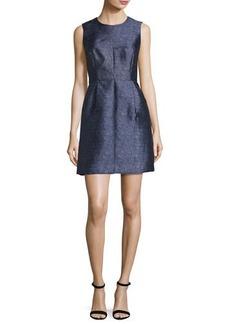 Milly Coco Sleeveless Denim-Print Twill Dress