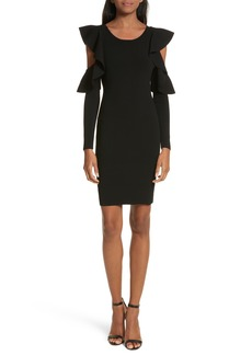 Milly Cold Shoulder Flounce Sheath Dress