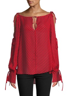Milly Connie Polka-Dot Silk Top with Tie Details