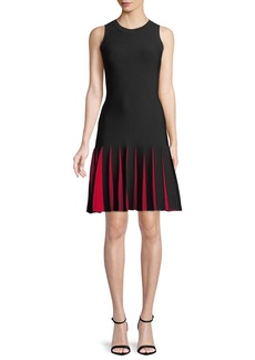 Milly Contrast-Pleated Short Mermaid Dress