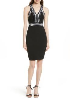 Milly Contrast Trim Knit Sheath Dress