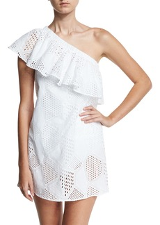 Milly Cotton Eyelet One-Shoulder Coverup Dress