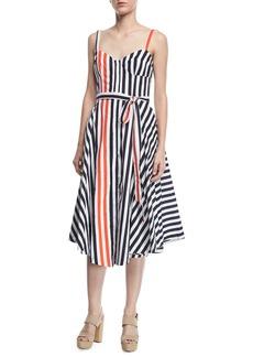 Milly Cotton Poplin Bustier Midi Dress