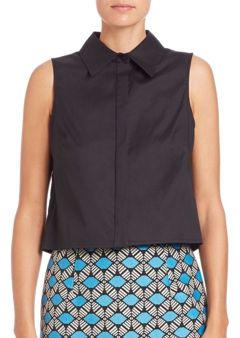 MILLY Cropped Sleeveless Shirt