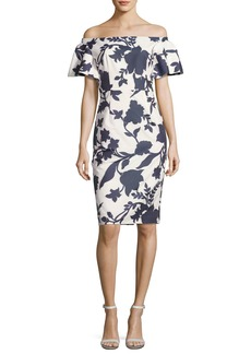 Milly Dakota Off-the-Shoulder Floral Jacquard Sheath Dress