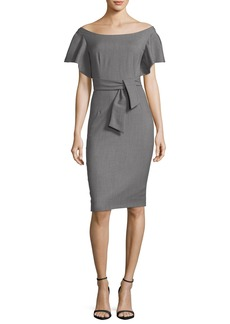Milly Dakota Off-the-Shoulder Stretch-Wool Gabardine Sheath Dress