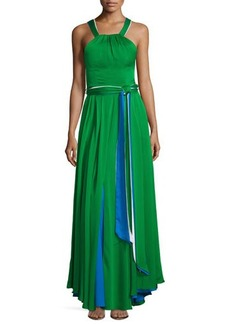 Milly Daphne Sleeveless Stretch Silk Gown