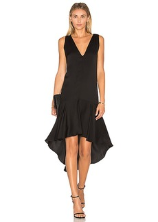 MILLY Deep V Flounce Dress in Black. - size 0 (also in 2,4)