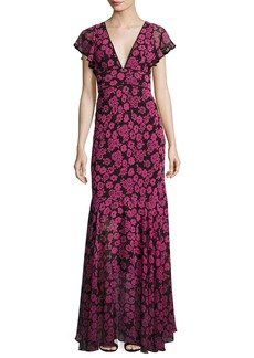 Milly Deni Floral-Print Chiffon Maxi Dress