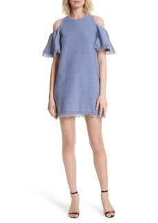 Milly Denim Knit Fringe Cold Shoulder Minidress